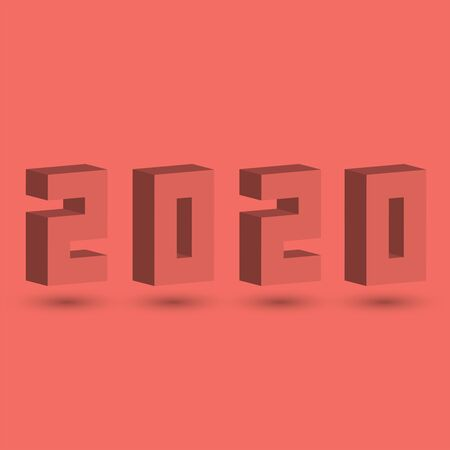 3D isometric shape 2020 coral color design, installation for New Year's poster or calendar cover 写真素材 - 128849764
