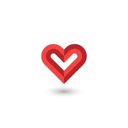 Faceted red heart creative 3D symbol of a volunteer organization or a symbol of donation