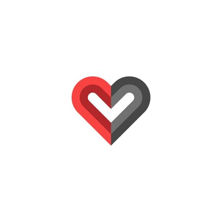 Heart icon creative design, black and red colors symbolizing human qualities good and evil or a symbol of donation Ilustração