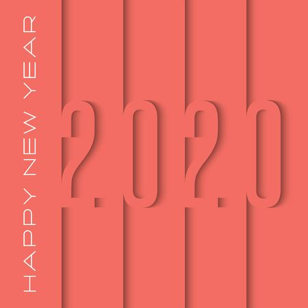 2020 number cut out of paper sheets overlay with shadows of trendy coral color in the style of the material design, happy new year text slogan