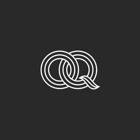 Overlapping initials OQ logo monogram, weaving two letters O and Q medieval style boutique emblem