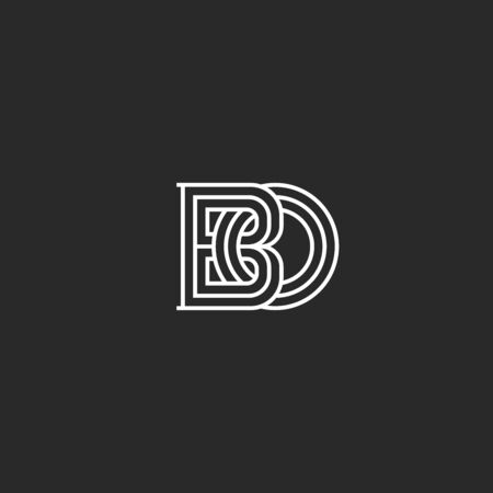 Interweaving of two letters B and O creative linear monogram BO in medieval thin line styles Çizim