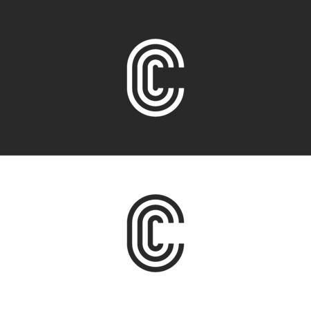 Monogram letter C , CCC crest initials business card emblem, parallel lines shape