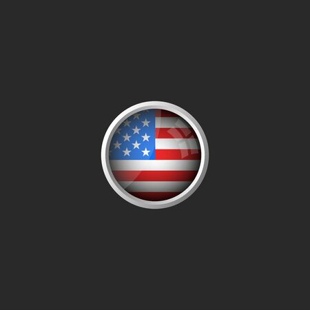 American flag round 3d icon, glass material metal frame, USA national colors design element mockup