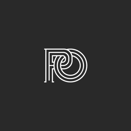 Overlapping of two letters P and O creative linear monogram PO initials in medieval style, Interweaving thin lines ornament