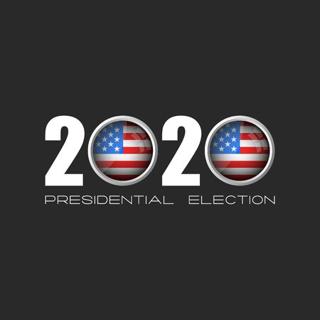USA presidential election  number 2020 with zeros in the form of round icons of the American flag, a template for the political sticker of the American electoral campaign of the electorate on a dark b  イラスト・ベクター素材