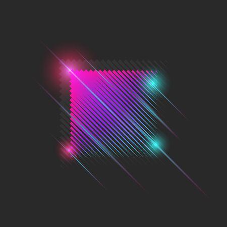 Luminous neon moving square 80s dance night club style with vibrant gradient glitch effect, cyber futuristic striped texture
