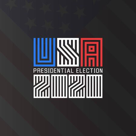 US Presidential Election  2020, template for the political poster of the American electoral campaign of the electorate on the background of the American flag.  イラスト・ベクター素材