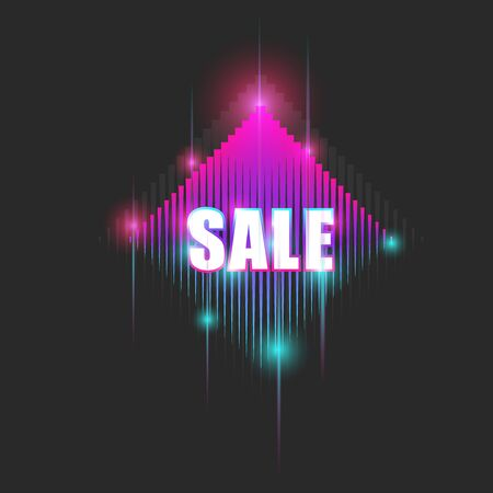 Bright neon billboard with text sale, sparkling gradient advertising banner for marketing campaign cyber style.