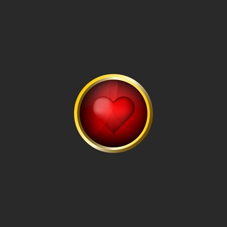 Red heart icon Valentine day 3d icon, glossy glass material and golden metal frame, love card design element mockup Illustration