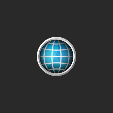 Globe 3d creative abstract blue planet icon in the material design style metal frame with glass