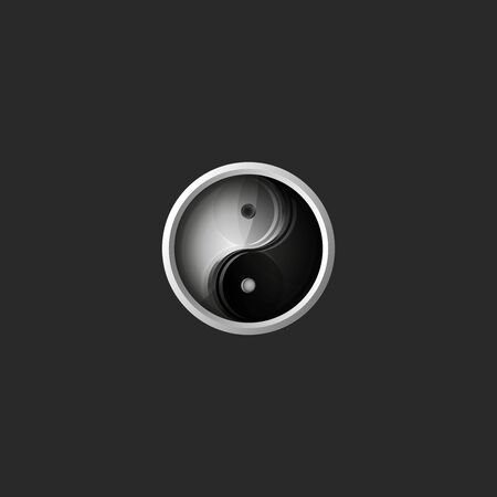 Yin and Yang Chinese philosophy balance symbol, round 3d icon, glass material metal frame, harmony   design element mockup Stockfoto - 130775569