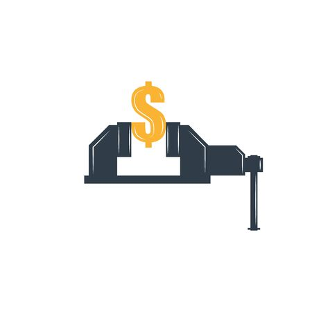 Rate cut financial concept graphic metaphor, dollar sign clamped in a bench vise as an economic illustration, depreciation of the American currency.