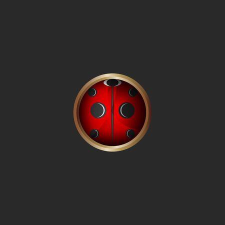 Pattern ladybug 3d icon, bug  round shape metal frame Çizim