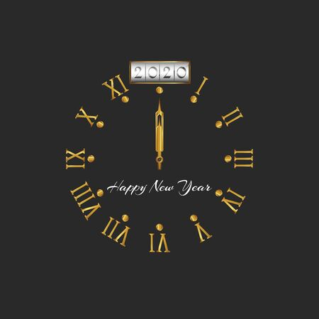 2020 Happy New Year golden old style clock dial with roman numbers and arrows on a dark background, decoration design element for calendar, greeting card, poster or flyer emblem 向量圖像