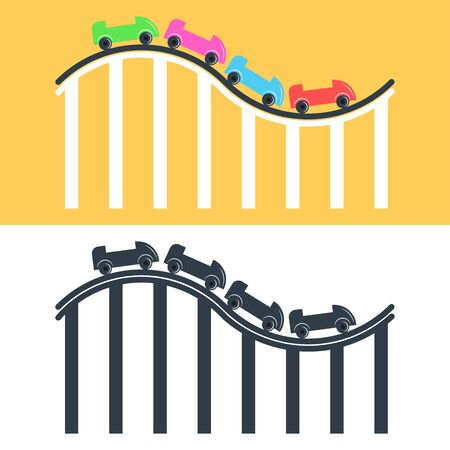 Roller coaster icon set multicolored and black and white flat illustration, pointer rollercoaster for amusement park Illustration