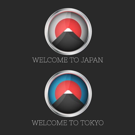 Set 3d icon Welcome to Japan and Tokyo mount Fuji  with the rising sun icon, travel emblem sticker  イラスト・ベクター素材