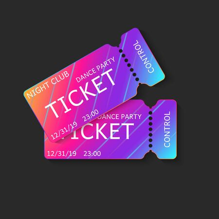 Two tickets vector 3d isolated mockup night club dj dance party or music concert, vip coupons template with modern gradient on black background