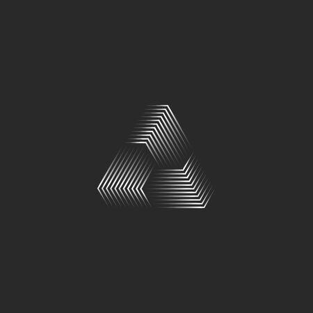 Dreiecksymbol kreative 3D-Pyramidenform schwarze und weiße dünne Linien, Cyber-futuristische geometrische Unendlichkeitsform moderner minimalistischer Stil