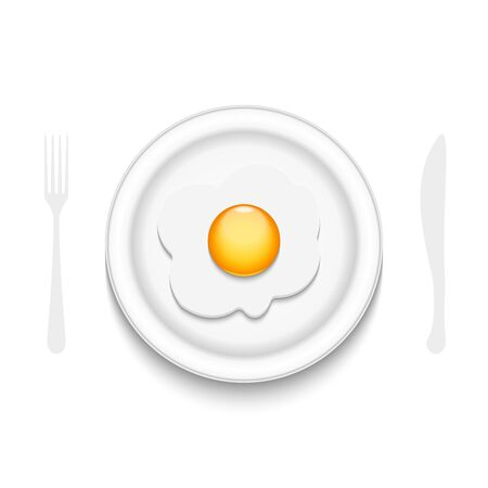 Fried egg on a round plate with halftone cutlery spoon and fork isolated on white background culinary banner, morning breakfast for food illustration
