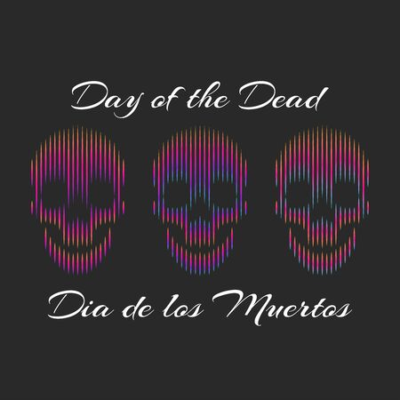 Día de los Muertos or English: Day of the Dead banner mockup. Three gradient lines skulls set. Mexican remember friends and family members who have died.