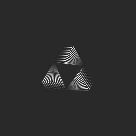 Triangle  creative 3d portal shape black and white metallic gradient thin lines, futuristic triangular geometric infinite form modern minimal style