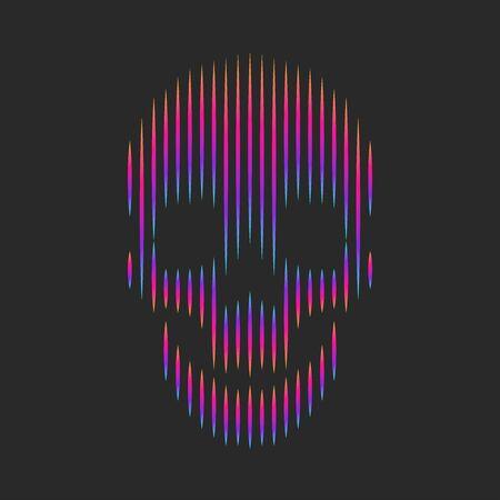 Skull artwork fashion t-shirt print emblem or grange sticker, optical illusion gradient lines striped shape hipster   black background 向量圖像