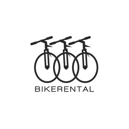 Bike rental   design in a minimalist style, three bicycle in a row creative emblem for a mountain bike store 矢量图像