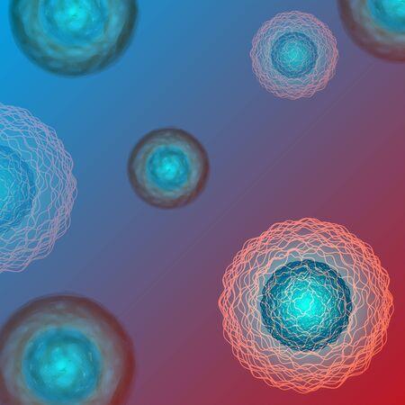 Stem cells, viruses or microorganisms 3d vector background medical illustration for scientific articles. Illustration