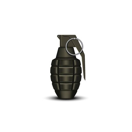 Realistic hand grenade 3d vector military isolated object on the white, offensive individual soldier weapons