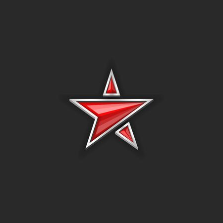 red star, plastic or glass five-pointed shape 3d vector object on the black background