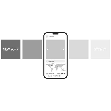 Order tracking carousel interface delivery mobile application template smartphone with world map, mockup transport tracking monochrome tiled design