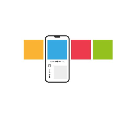 Smartphone with multicolored square web carousel post interface mockup on social network app concept. UI vector illustration.