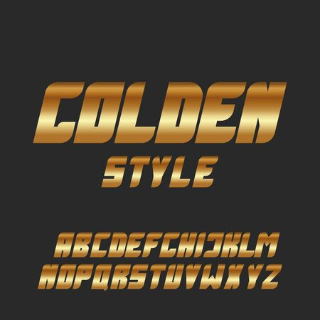 Italic bold font gold glowing letters set, golden style modern metallic typeface