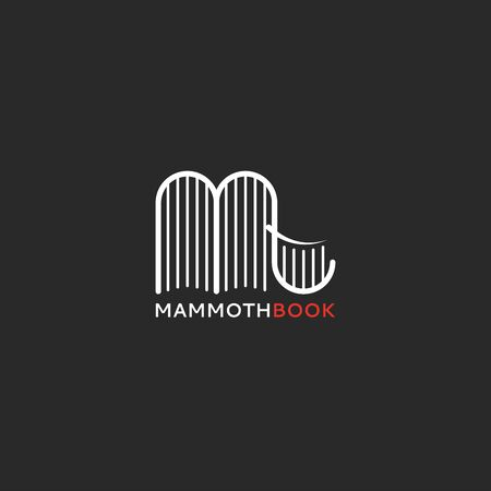 books in the form of a mammoth or elephant, an emblem for a library, encyclopedia or bookstore creative design of thin lines.