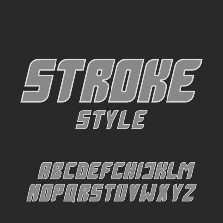 Italic bold gray font with stroke letters set, minimal style modern typeface