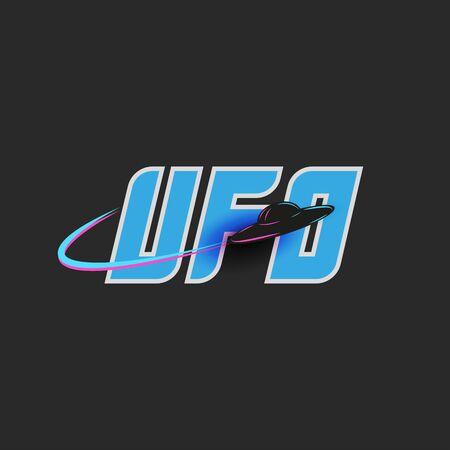 UFO   blue lettering for t-shirt print emblem, unidentified flying object, alien saucer shape black spacecraft