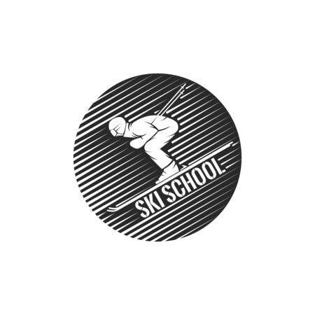 ski school, skier descending from the mountainside winter sport illustration, fashion print for sportswear. Illusztráció