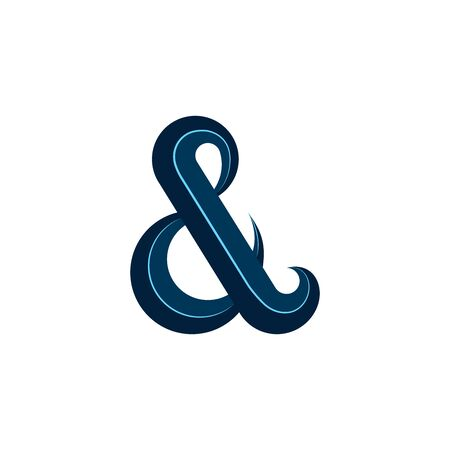 Ampersand   calligraphic symbol in blue, design element for wedding cards