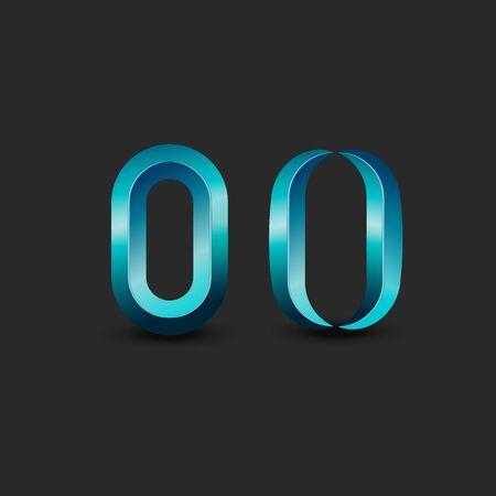 Letter O   monogram or zero 3d symbol aquamarine latin calligraphy element design, plastic material design Stok Fotoğraf - 137875040