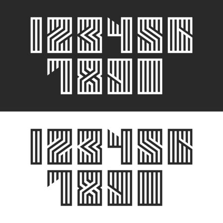 Set of numbers for modern trend monogram typography, linear calligraphy math symbols, numbers geometric shape from parallel black and white lines. Ilustrace