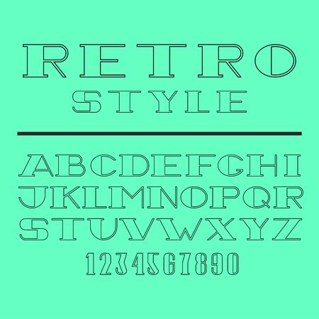 Retro minimal font set, latin letters and numbers collection thin lines style, linear old type