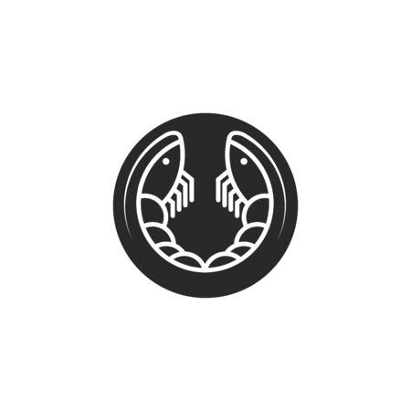 Two shrimps round sea animal, king prawns black and white linear icon for seafood restaurant