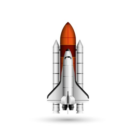 Space shuttle and rocket realistic vector 3d model mockup isolated on white, space mission spaceship getting ready to launch