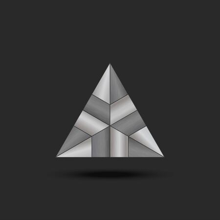 metal triangle futuristic element, complex composite sectional structure with machined steel texture