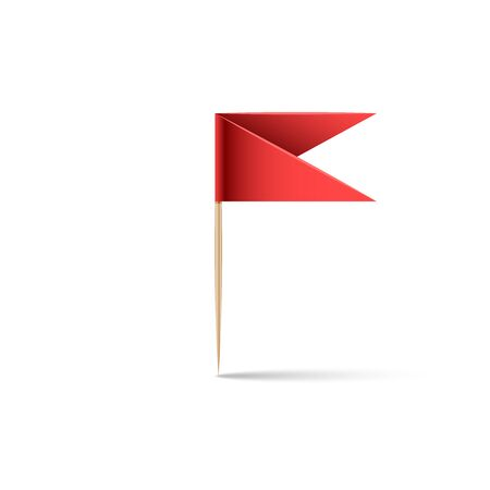 Paper red flag in the form of a pin on a wooden stick with a toothpick with shadow isolated white background, design element for geolocation, realistic 3d vector illustration