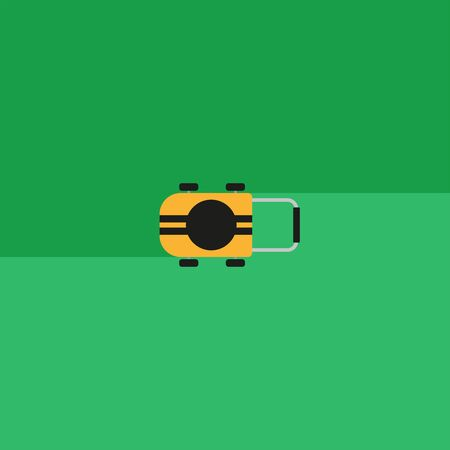 Yellow lawn mower on wheels in the process of cutting a green lawn in an abstract garden with trimmed grass top view vector illustration 版權商用圖片 - 150159443