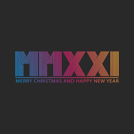 Number 2021 HNY Roman number MMXXI trendy thin lines gradient color, Happy New Year and Merry Christmas text, creative greeting card, poster, banner, party flyer invitation emblem linear monogram