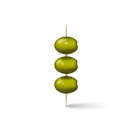 Three green olives on a wooden toothpicks snack for an alcoholic drink, 3d realistic vector food illustration