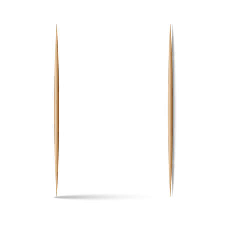 Two toothpicks vertical 3d realistic vector illustration vertical and horizontal position Vettoriali